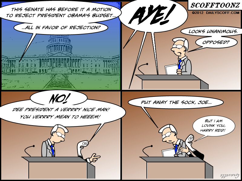 Cartoon:  Biden sock puppet defends Obama's budget during Senate vote