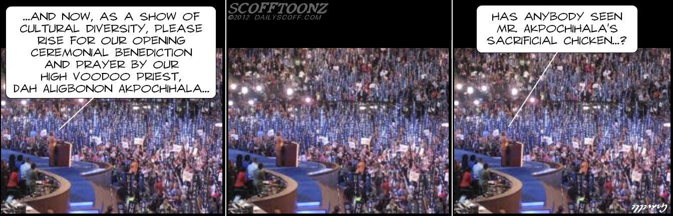 Cartoon:  DNC 2012 convention - opening prayer