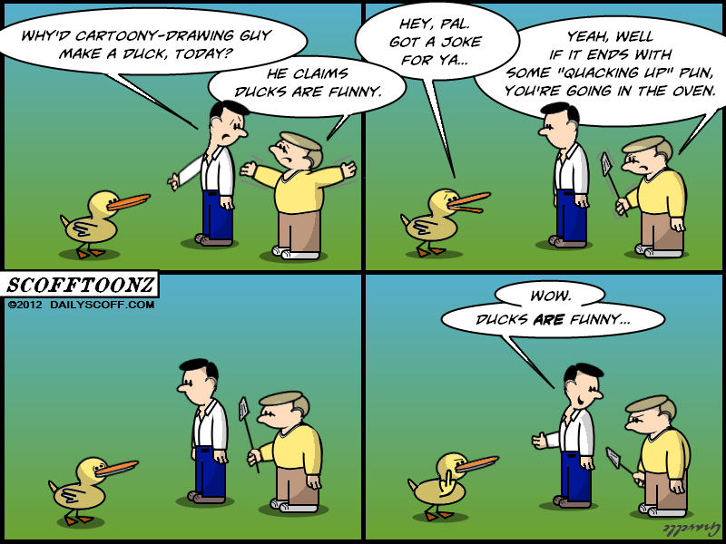 Cartoon:  duck flipping the bird