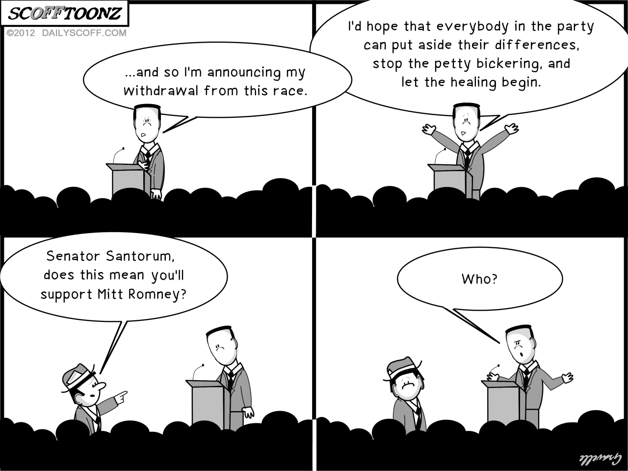 Cartoon: Santorum ignores Romney during concession speech