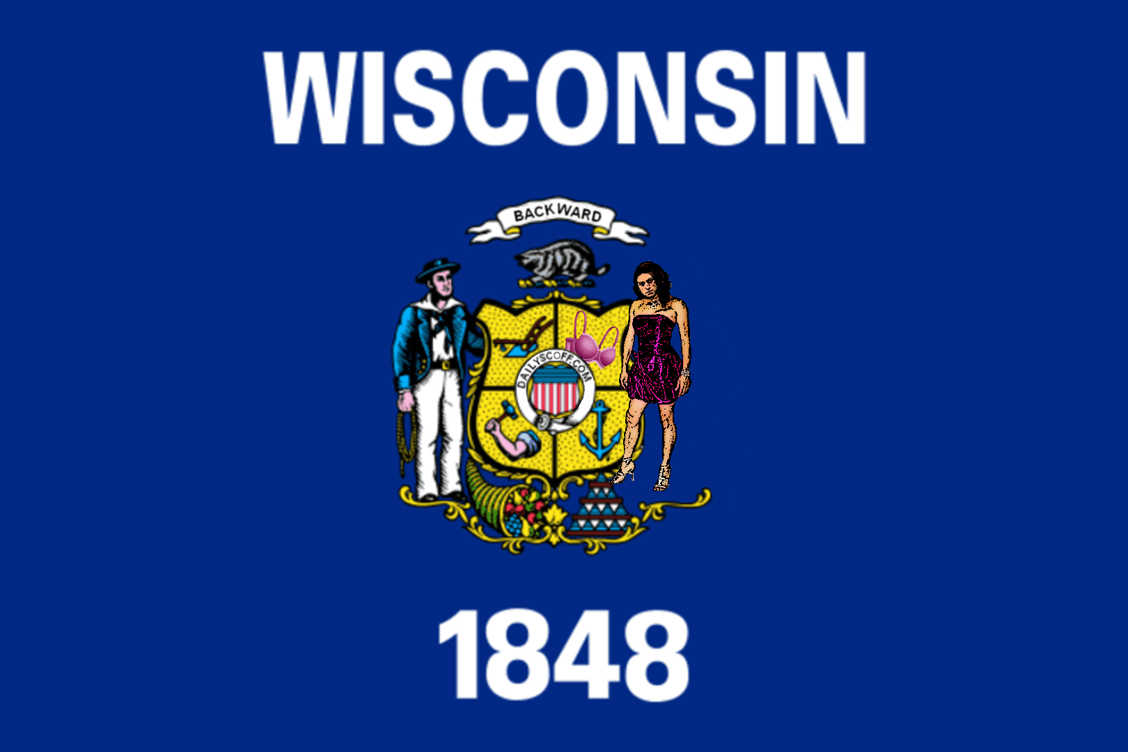 the Pink Slip Transvestite on our Wisconsin State Flag?